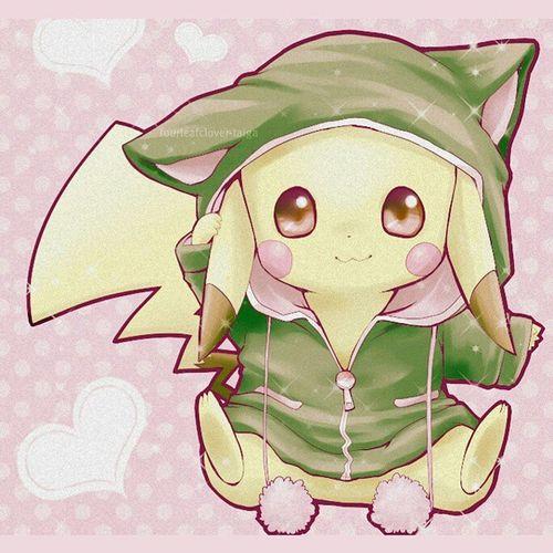 Kawaii pikachu ♥ KAWAII Pikachu Kawaiipikachu Cute pokemon kawaiipokemon childhood crazy clothes green fun perfect lovepikachu lovekawaii anime manga otaku japan Japanese