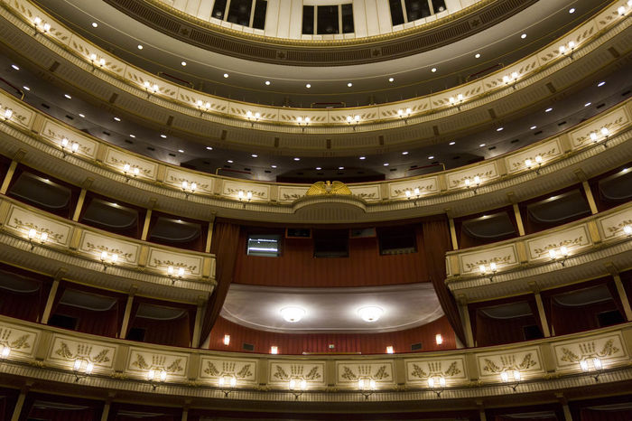 Vienna Opera House interiors Historical Building Interiors Opéra Theater Vienna Architecture Audience Auditorium Balcony Historic Indoors  Musical Theater  No People Opera House Operahouse Public Places Royal Staatsoper Stall Stalls Theatre Wien Wiener