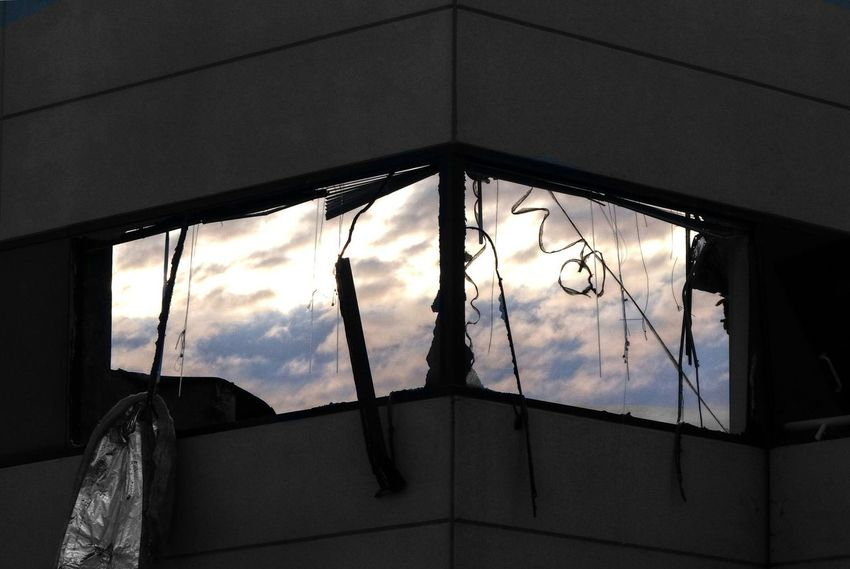 Demolition Zone Demolished Demolition Windows Broken Sky Clouds And Sky