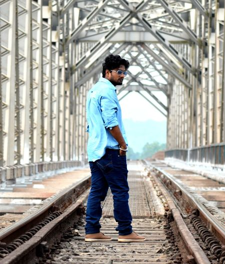 Railroad Track Railway Tracks Railway Bridge Protrait_prefection Urban Landscape One Young Man Only Lifestyles Outdoors Transportation Adapted To The City Uniqueness