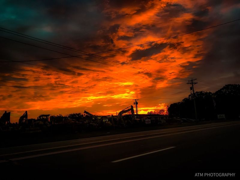 Sunset Cloud - Sky Sky Orange Color Dramatic Sky Road Silhouette Outdoors Beauty In Nature Tree Scenics Nature Beauty Simple Photography Outside Backgrounds Nature