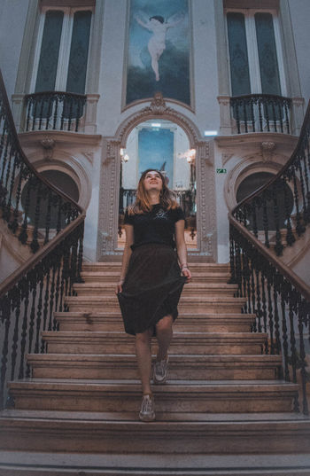 Architecture Full Length One Person Staircase Built Structure Real People Railing Front View Looking At Camera Young Adult Portrait Women Young Women Lifestyles Building Exterior Steps And Staircases Casual Clothing Smiling Arch Fashion Beautiful Woman Teenager Lisbon