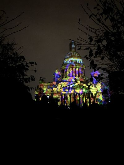 Isaac's Cathedral Saint Petersburg Night Illuminated Building Exterior Architecture City Adapted To The City Light Effect Colours EyeEmNewHere EyeEm Gallery Russia Performance Outdoors Art Is Everywhere