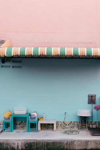 Architecture Blue Sky Colorful Colors Day Interior Design Multi Colored No People Pastel Pastel Power Pink Color Terrace The Street Photographer - 2017 EyeEm Awards