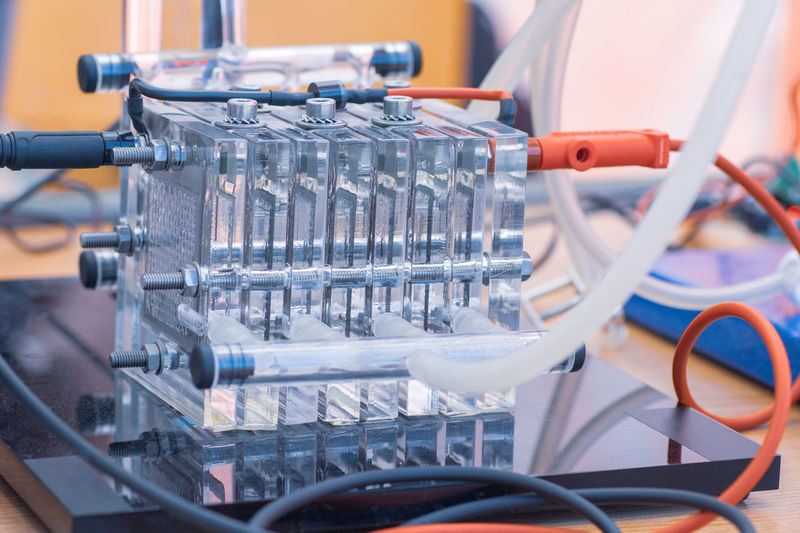 Detail of hydrogen fuel cells - alternative and clean source of energy. new technology concept.