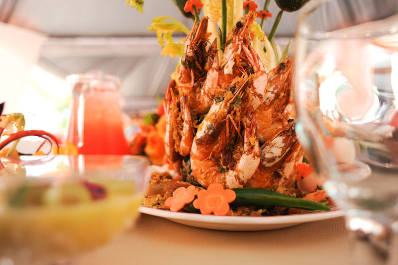 Prawns In Plate On Dinning Table