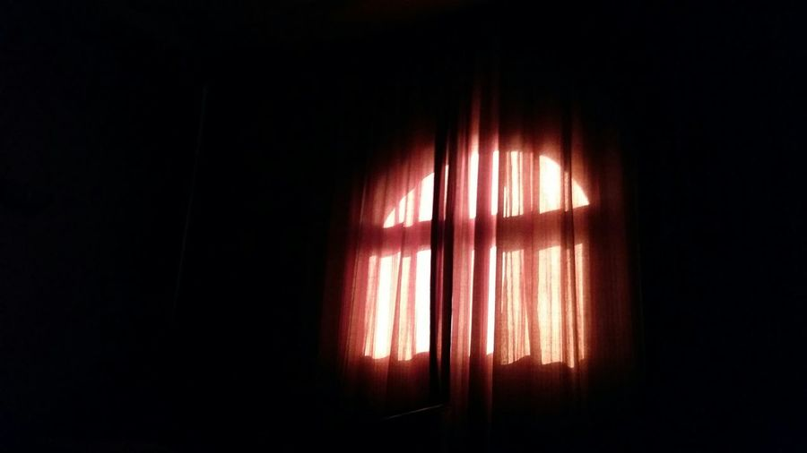 View of curtains in the dark