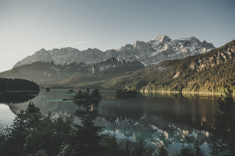 Eibsee Zugspitze Beauty In Nature Clear Sky Day Idyllic Lake Mornig Mountain Mountain Range Nature No People Non-urban Scene Outdoors Plant Reflection Scenics - Nature Sky Tranquil Scene Tranquility Tree Water Waterfront