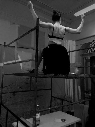 Adult Adults Only Arms Back Blackandwhite Day Full Length Muscles One Person Outdoors People Rear View Scaffolding Steps Woman Young Adult Strength Power Black And White Uniqueness University University Of Fine Arts Poznań Muscle Scafolding