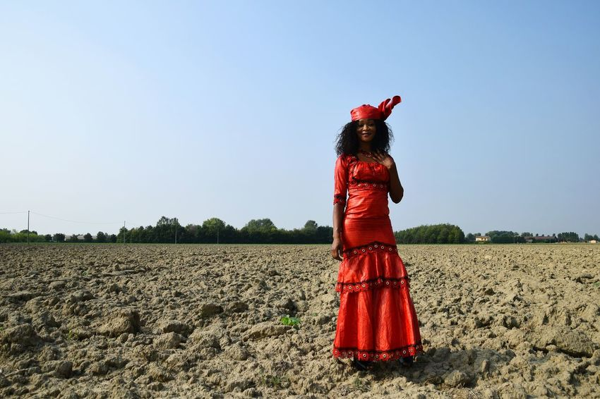 Portrait Woman Young Woman Red Scarecrow Agriculture Tradition Sky Farmland Cultivated Land Agricultural Field Looking At Camera A New Beginning
