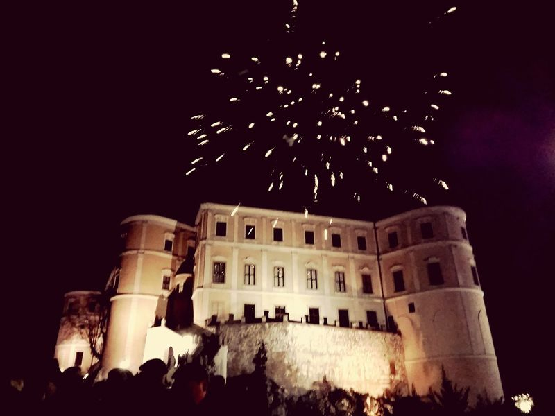 Happy New Year Celebration Enjoying Life Happiness Fireworks Citycenter Czech Republic Mikulov