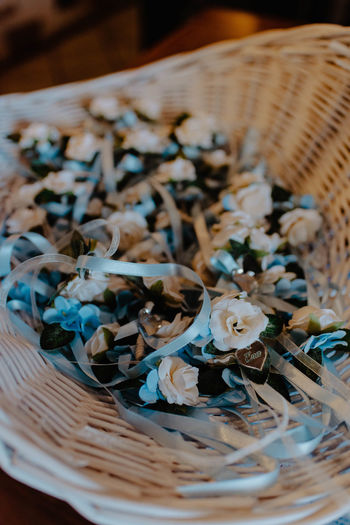 High angle view of shells in basket on table