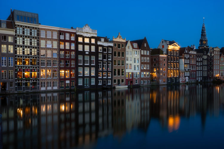 Amsterdam Holland Dutch Remo SCarfo Building Exterior Architecture Built Structure Reflection Water Building Illuminated City Sky Waterfront Nature No People Dusk Night Residential District Travel Destinations Clear Sky Canal Blue Row House
