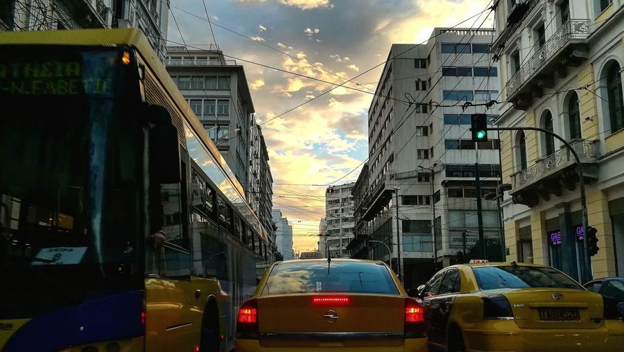 Citysky Cityskyview City Yellow Taxi Sunset Car Traffic City Street Sky Architecture Cloud - Sky Taxi Rush Hour