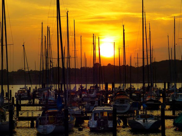 Cloud - Sky Kieler Förde Lake Nautical Vessel Orange Color Outdoors Sailing Sea Sky Sun Sunset Water