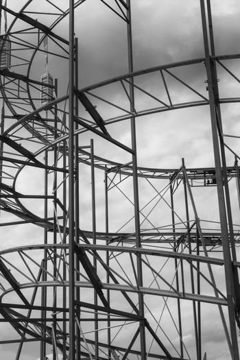 Spiral Railroad Tracks Of Rollercoaster Against Sky