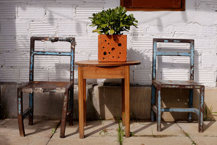 Art Photography Blue Chair Chair Day Flowerpot Light And Shadow No People Old Chair Pattern Plant Potted Plant Rust Rusty Rusty Metal Square Table Wood - Material