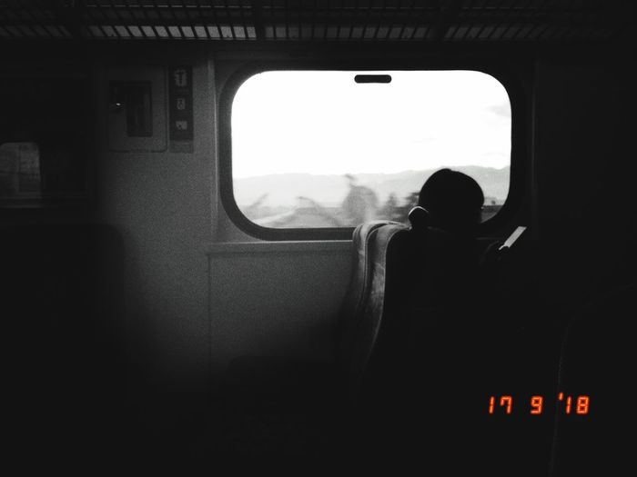 Rear view of man seen through train window