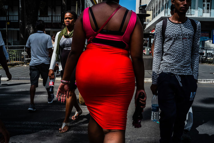 Red bum lit by