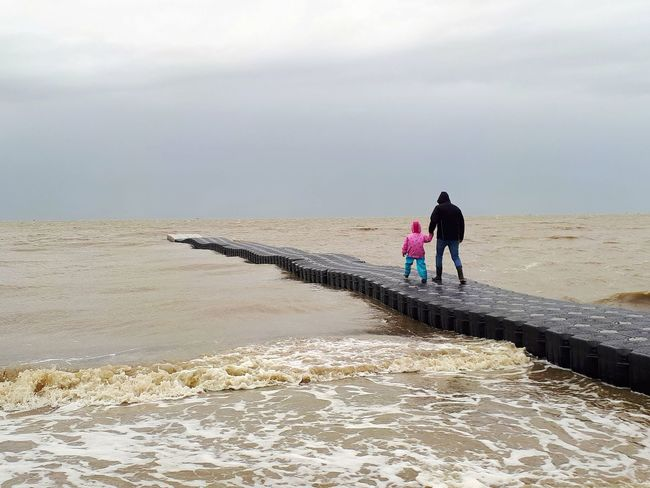Two People Togetherness Sea Beach Outdoors Child Nature Water Sky