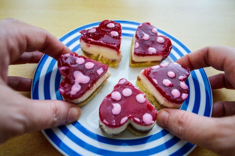 Pattern Hearts Contrasting Colors Colourful Serving Size Dots Striped Temptation EyeEm Selects Human Hand Dessert Holding Heart Shape Close-up Sweet Food Food And Drink Gelatin Dessert Candy Heart Valentine Day - Holiday I Love You Strawberry Jam Cookie