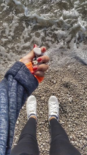 Human Leg Low Section Close-up Day Lifestyles Women Nail Polish Human Body Part Gravel Today ☺ Sea Side 😍love😍 🌊☉
