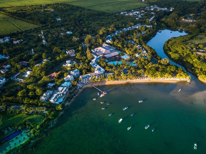 High angle view of the ravenala attitude hotel, mauritius