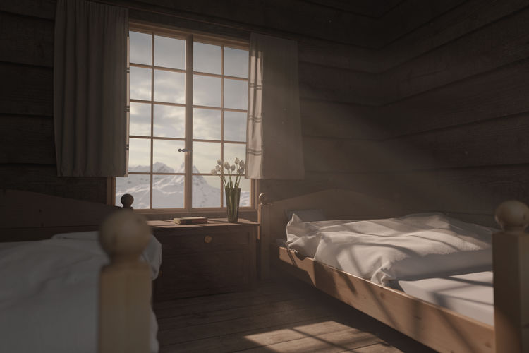 wooden bedroom of a chalet with light rays st windowcabin Light Rays Wooden Alps Mountain Bed Furniture Window Indoors  Bedroom Home Interior Architecture Interior Chalet Vacations Retro Vintage Empty Sunlight Cabin Wooden Hut