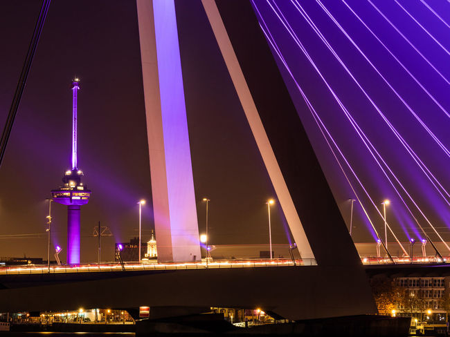 Illuminated Night Architecture Built Structure Bridge Bridge - Man Made Structure No People Water Connection Building Exterior Transportation River Nature City Sky Travel Destinations Lighting Equipment Motion Purple