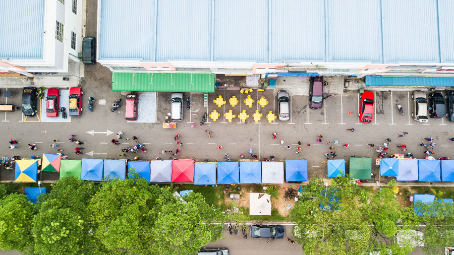 High Angle View Of Street Market In City