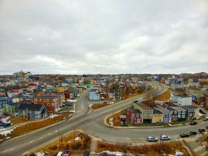 Canada St.johns Newfoundland City Cityscape Crowd High Angle View Sky Building Exterior Architecture Cloud - Sky Built Structure TOWNSCAPE Town Townhouse Old Town Place Residential District Residential Structure Housing Settlement Aerial View Traffic Circle Settlement Human Settlement The Architect - 2018 EyeEm Awards The Street Photographer - 2018 EyeEm Awards