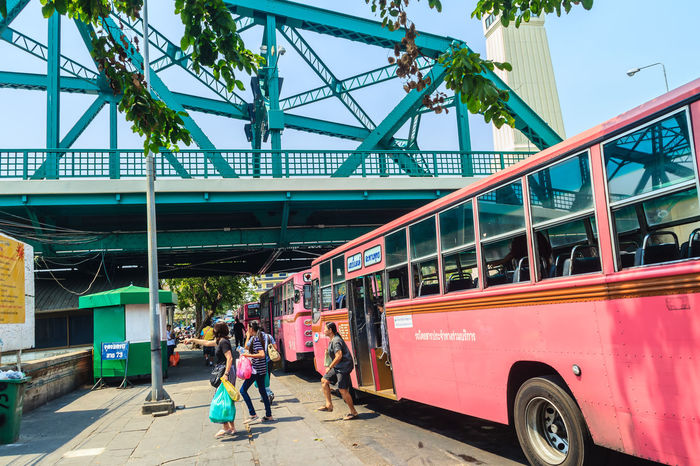 Bangkok, Thailand - March 2, 2017: Pink bus line number 8, starting point from the memorial bridge (Saphan Phut) to Happy Land, Minburi. Bus nummber 8 line is famous of fast and swiftly in Bangkok. Bus Trip Bus Terminal Station - Entrance Number 8 Pink Pink Bus Saphan Phut Adult Architecture Building Exterior Built Structure Bus Bus Line Bus Terminal Bus Travel City Day Fast And Furious Fast And Furious 8 Fast And Swiftly Full Length Group Of People Happy Land Incidental People Land Vehicle Lifestyles Memorial Bridge Men Minburi Mode Of Transportation Motor Vehicle Nature Outdoors People Real People Sky Swiftly Transportation Travel