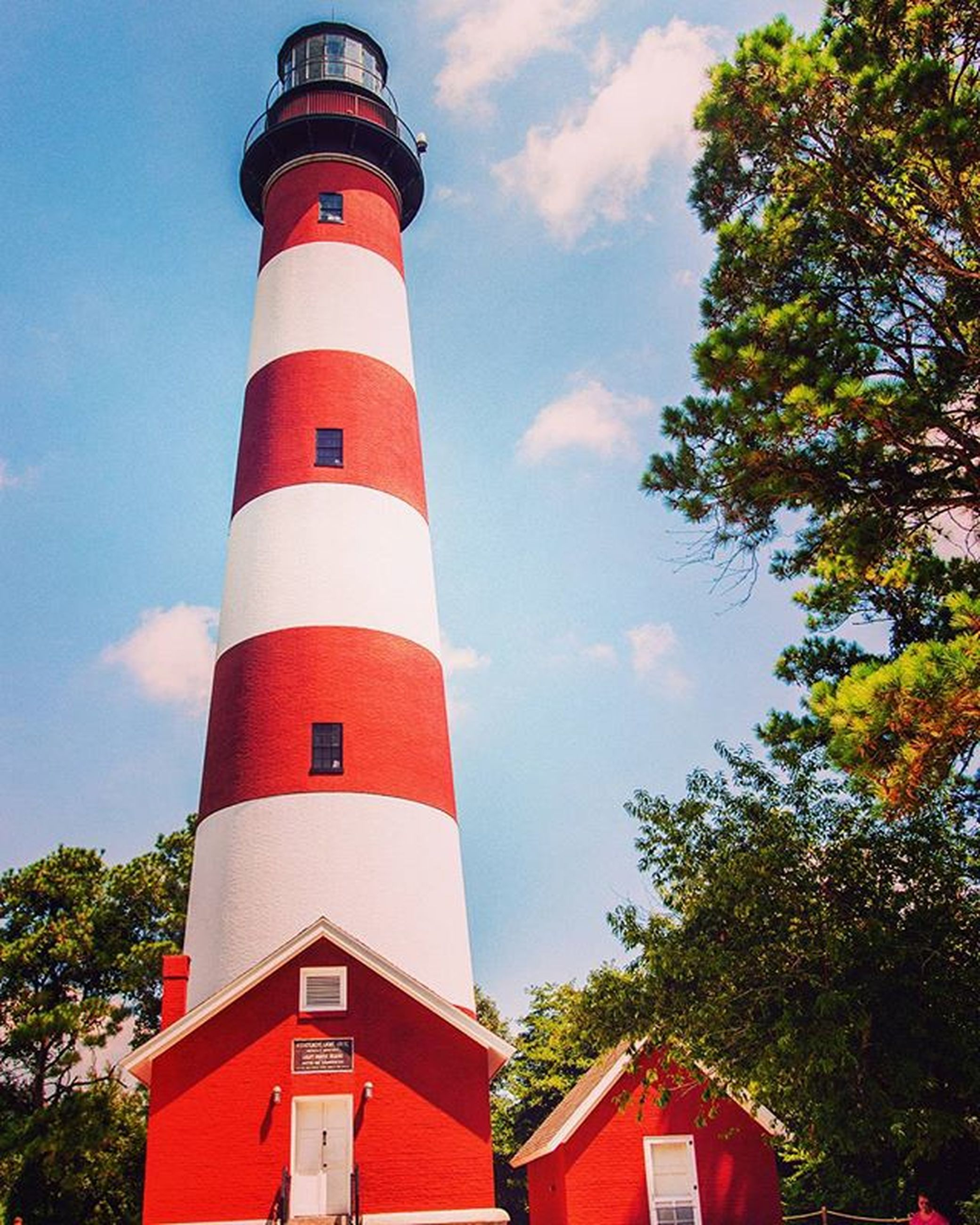 architecture, red, building exterior, built structure, lighthouse, sky, tower, protection, guidance, safety, low angle view, direction, security, tree, day, no people, outdoors, cloud - sky, cloud, blue