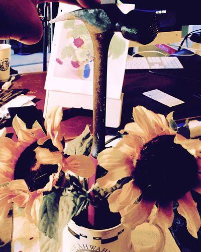 Wax Hammer With Sunflowers In A Yosemite Coffee Mug. Art Multi Colored Creativity Variation Hammer Sunflowers Workshops