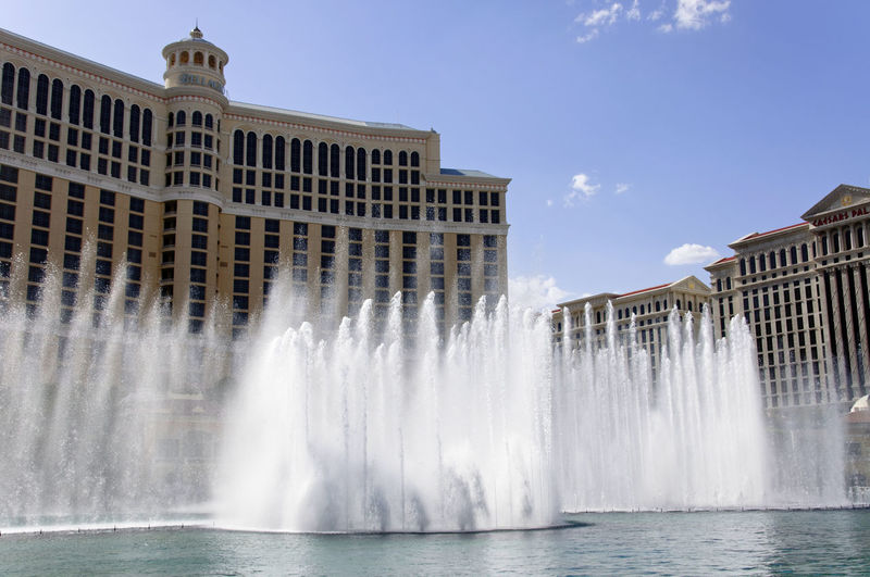 Panoramic view of fountain against sky