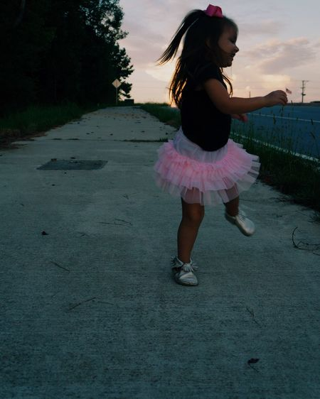 Capturing Freedom Children Kids Sunset Girl Road Streetphotography Dance Fun Silly