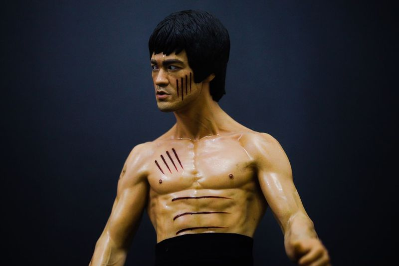 Shirtless Strength Muscular Build One Person Sportsman Front View Young Adult Adults Only Athlete Sport Men One Man Only Only Men Black Background People Adult Indoors  Day Bruce Lee