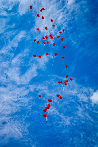 99 Luftballons Baloons Blue Celebration Cloud - Sky Day Flying Good Wishes Helium Balloons No People Outdoors Red Sky Sommergefühle