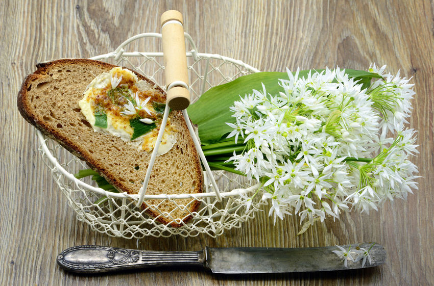 Bunch of ramson wild garlic flower heads and leaves on basket with fresh bread and ramson butter. antique silver knife. Bärlauch  Food And Drink Garlic Vegetarian Food Bread Bärlauch Sammeln Bärlauchblüte Bärlauchtime Eating Utensil Food Food And Drink Freshness Healthy Eating Herb High Angle View Knife Meal Ramson Ready-to-eat Table Table Knife Vegetable Vegetarian Food Wild Garlic Wild Garlic Flowers