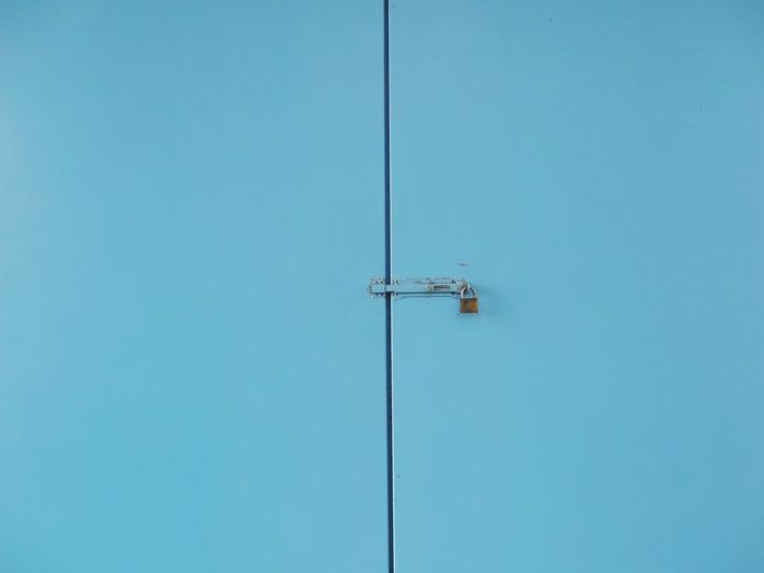 Background Blue Cabinet Cable Clear Sky Closed Closed Door Connection Day Electricity  Full Frame Lock Low Angle View Nature No People Outdoors Same  Simple Simple Photography Simplicity Sky Still Life Technology