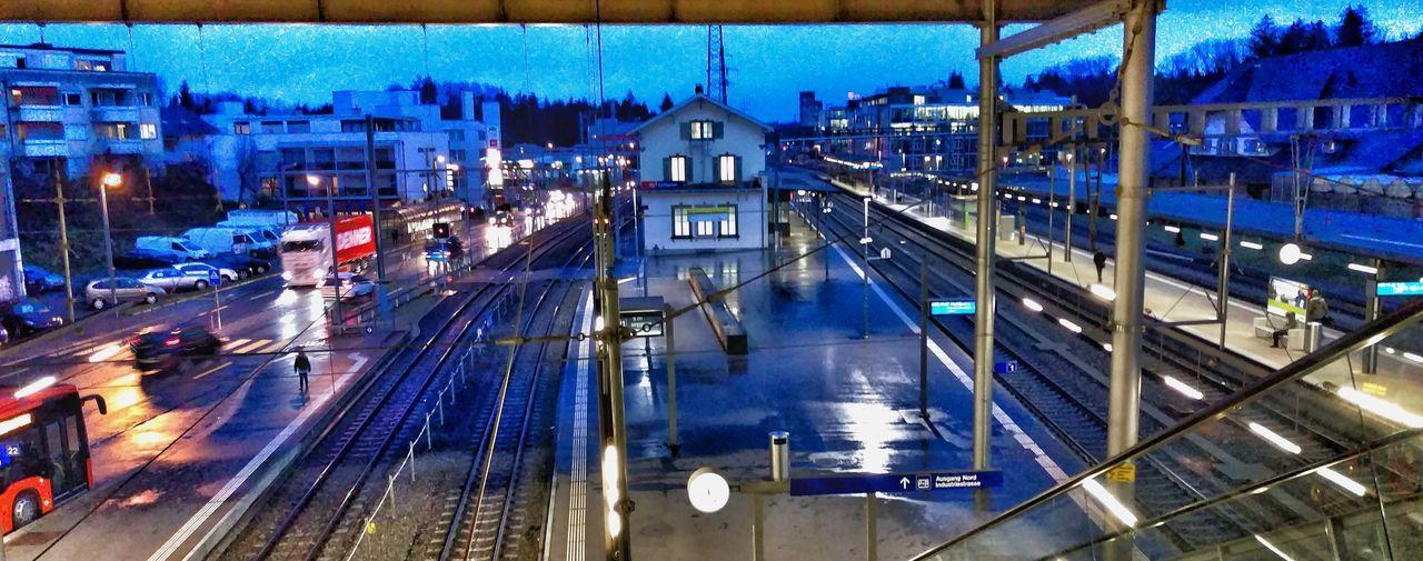 Public Transportation Commuting Rails Train Station Morning Moving Stairway Blue Hour Platform My Commute