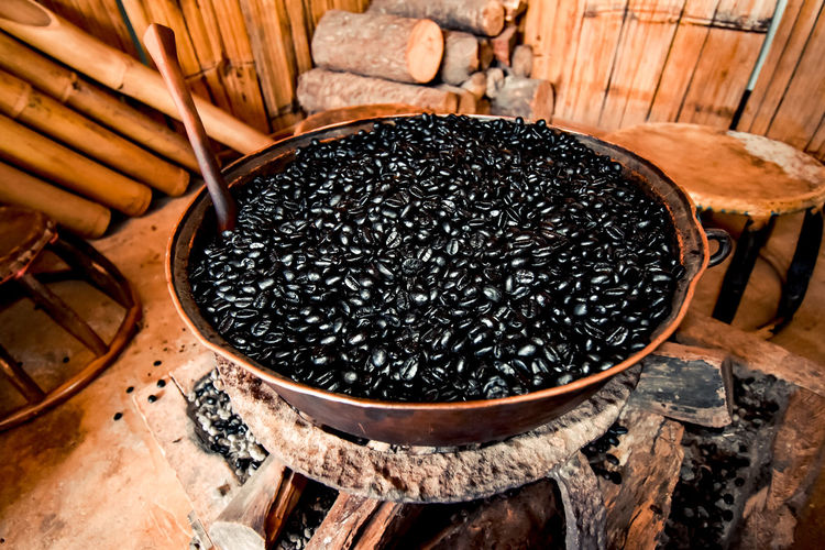 High angle view of black coffee on floor