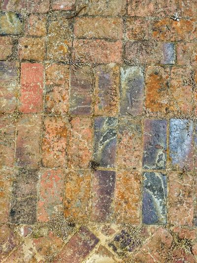 Brick Walkway Path Footpath Sidewalk Outside Old Ground Multi Colored Backgrounds Full Frame Textured  Pattern Abstract Rough Seamless Pattern Close-up Weathered Stone Tile Pathway