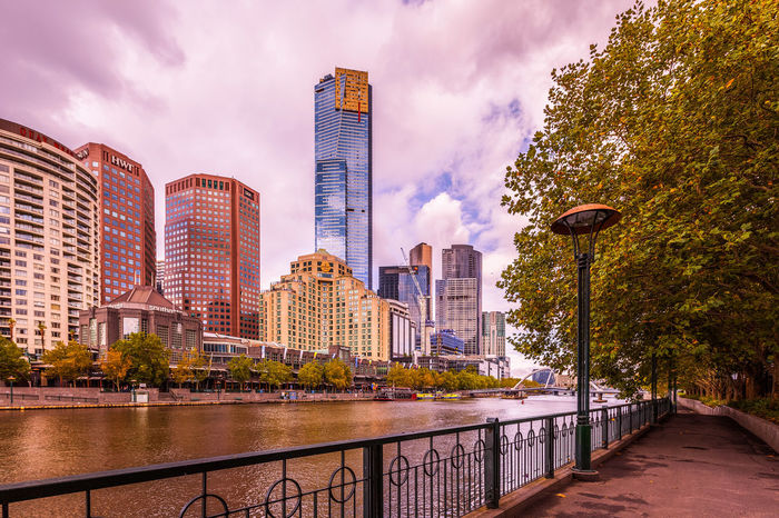 MELBOURNE - JAN 31 2016: View of Yarra river with Eureka Tower and office buildings in the background. Melbourne City Promenade Yarra Architecture Bridge - Man Made Structure Building Exterior Built Structure City Cityscape Cloud - Sky Day Melbourne Modern Nature No People Outdoors River Sky Skyscraper Travel Destinations Tree Urban Skyline Water Yarra River