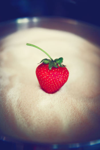 Close-up of strawberries on heart shape