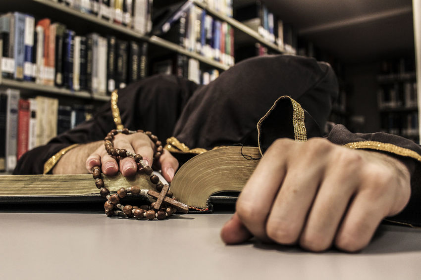 #Monk #student #studying  #tired Book Education Library One Person Sitting