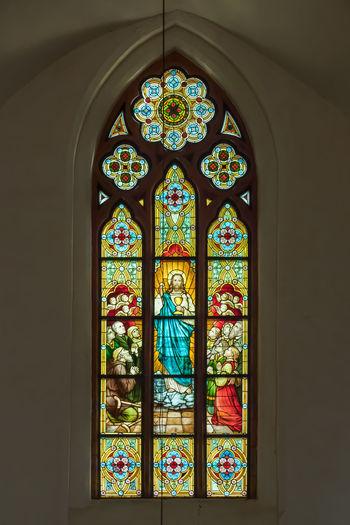 Bleiglasfenster Deutschland Elisabethenkapelle Fenster Glas Grimma Kirche Architektur Innen Religion Sachsen