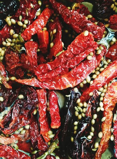 High angle view of red chili peppers