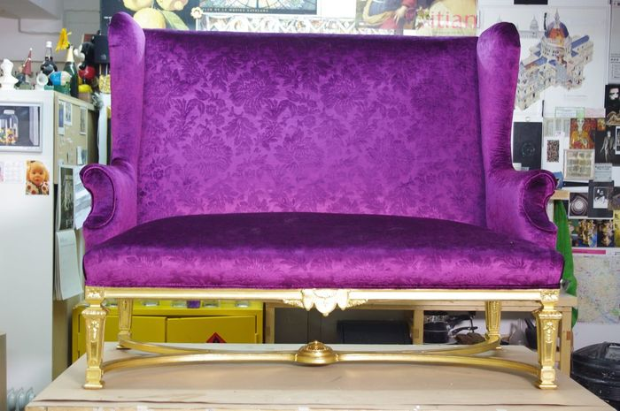 Gilded chair with purple silk upholstery Antique Chair Furniture Gilded Gilding Luxury No People Ornate Purple Seat