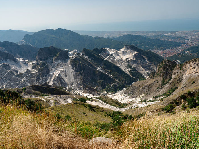 View of the marble quarries of carrara